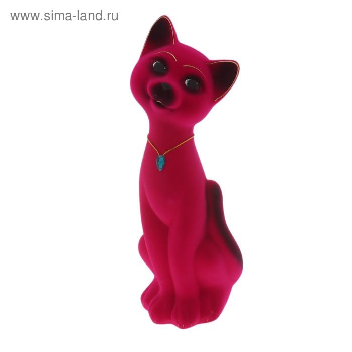 """Копилка """"Кот Матвей"""" большая, флок, розовая"""