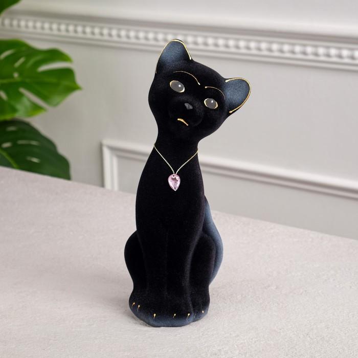 """Копилка """"Кот Матвей"""" малая, флок, чёрная"""
