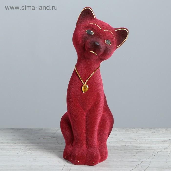 """Копилка """"Кот Матвей"""" малая, флок, бордовая"""