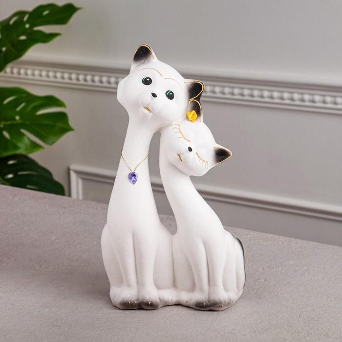 """Копилка """"Коты на свидании"""" пара, флок, белая"""