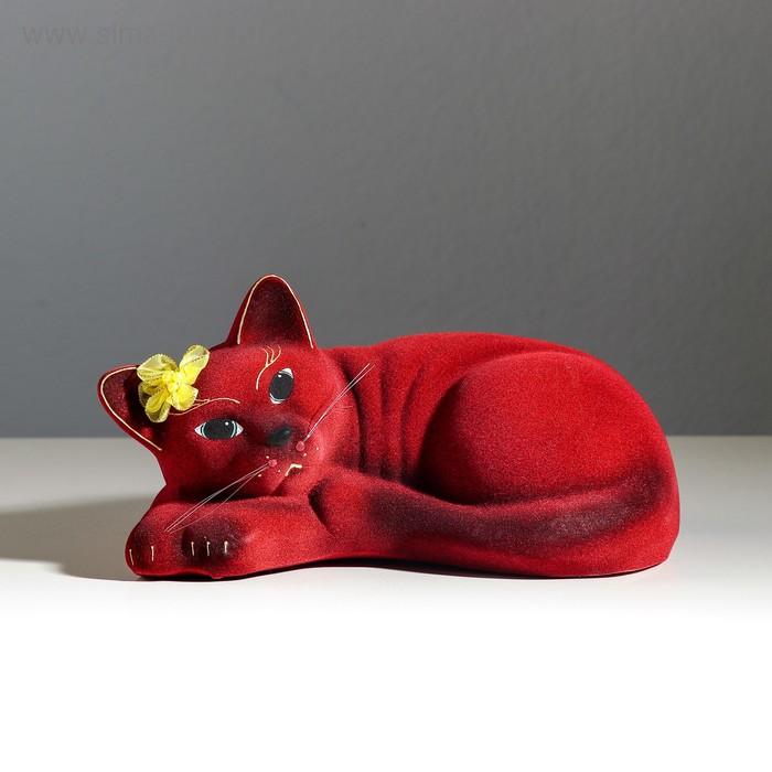 """Копилка """"Кошка Соня"""" флок, бордовая"""