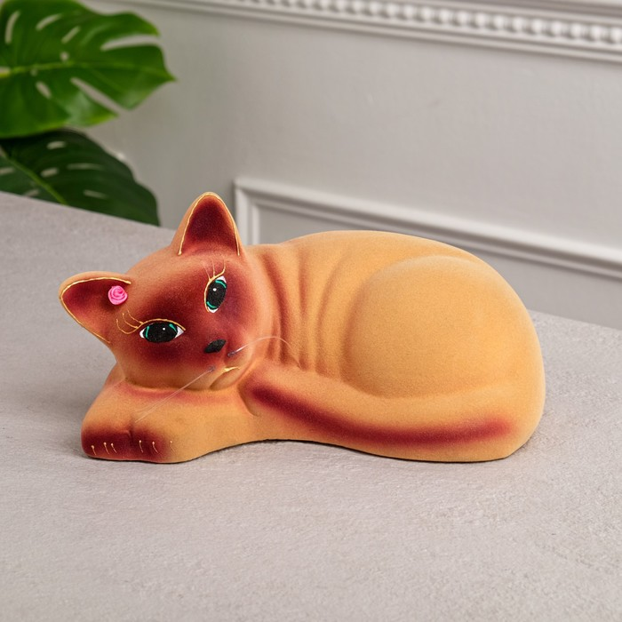 "Копилка ""Кошка Соня"" флок, бежевая"