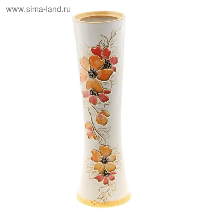 """Ваза """"Марика-Росса"""" цветы, белая"""