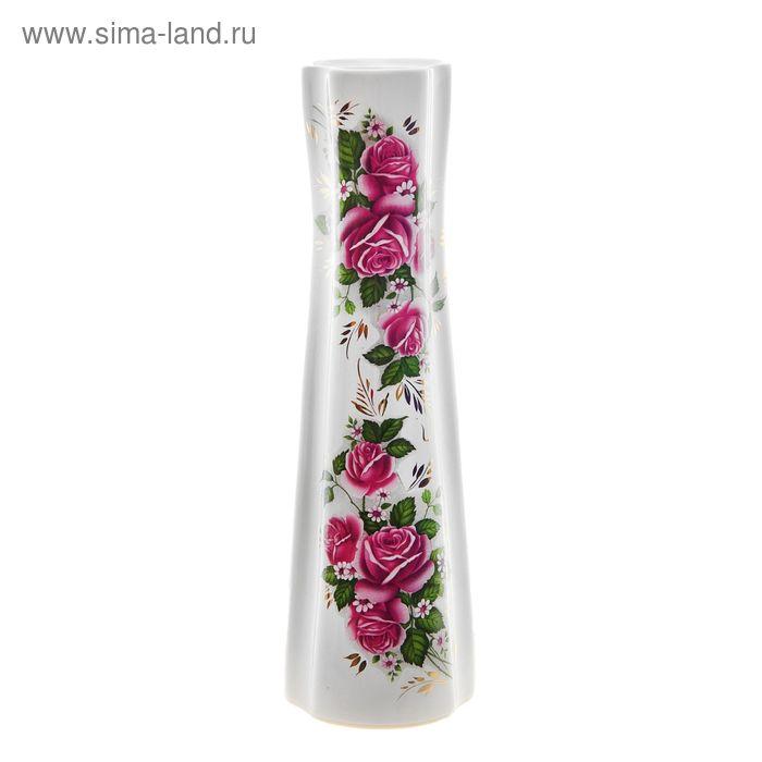 """Ваза """"Виола"""" белая, деколь, розы, золото"""