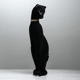 """Копилка """"Кошка Багира в ошейнике"""" большая, флок, чёрная, микс"""