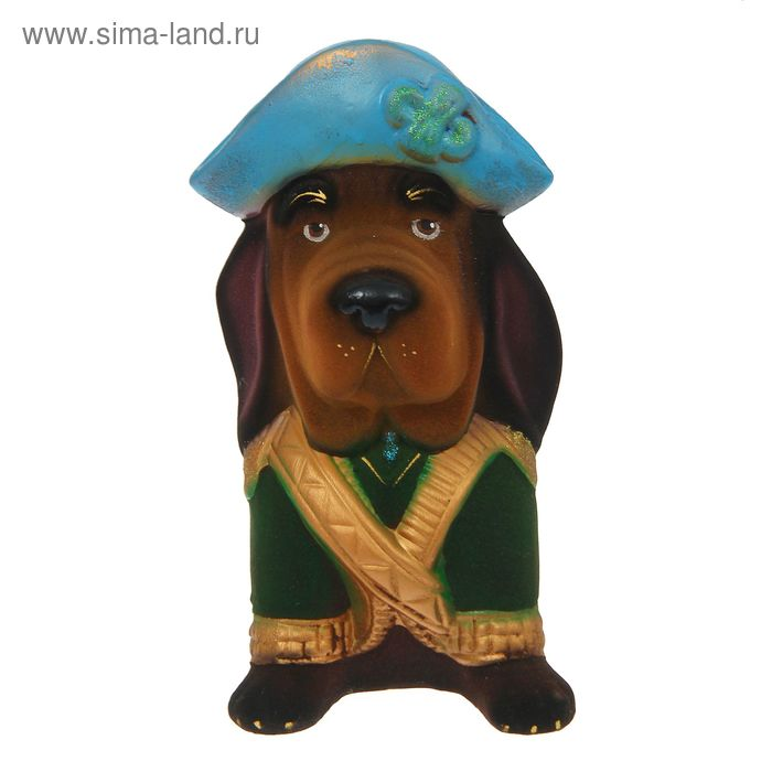 "Копилка ""Собака-адмирал"" флок, коричневая, микс"