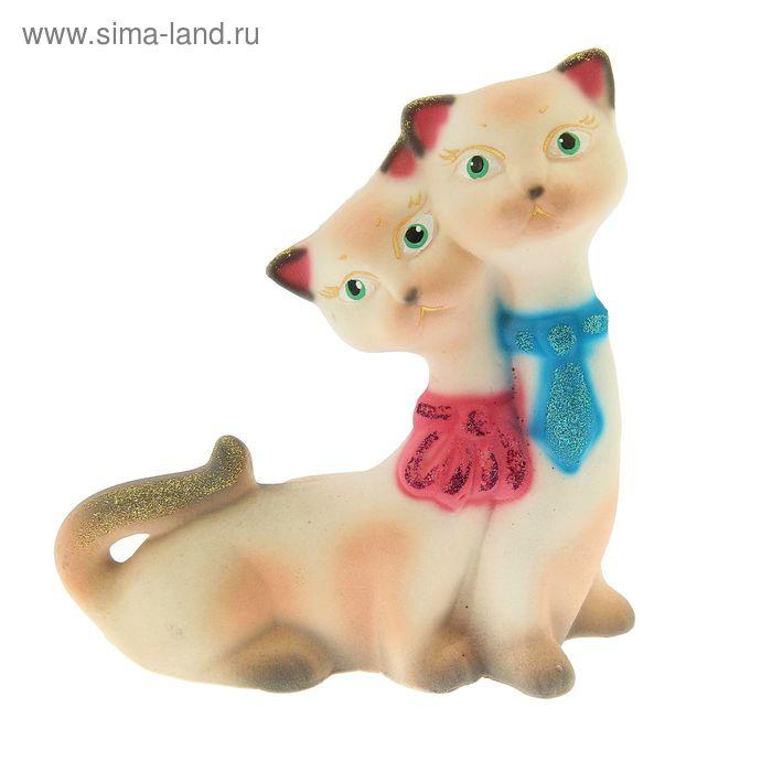 """Копилка """"Влюблённые кот и кошка"""" флок, белая"""