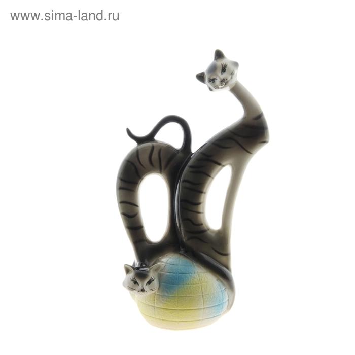 "Сувенир ""Кот на шаре"" глянец, серый"