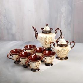 """Чайный сервиз """"Ева"""" шамот, 8 предметов: сахарница, чайник 0,9 л, 6 кружек 0,2 л"""