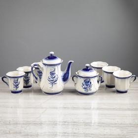"""Чайный сервиз """"Ажур"""" гжель, 8 предметов: сахарница, чайник 1 л, 6 кружек 0,22 л"""