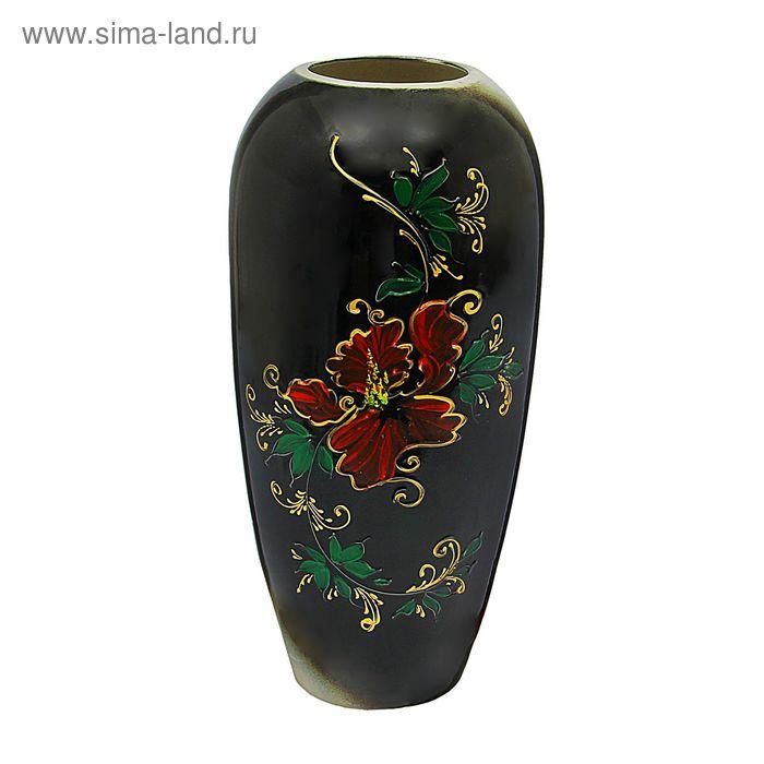 """Ваза напольная """"Аурика"""" чёрная, цветы, глазурь"""