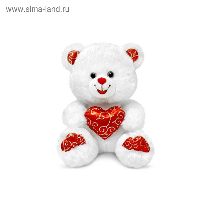 """Мягкая игрушка """"Мишка белый с блестящим сердцем"""" музыкальная"""