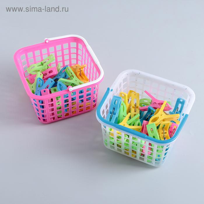 Набор прищепок в корзинке 13х13х8 см, 24 шт (5,5 см), цвет МИКС