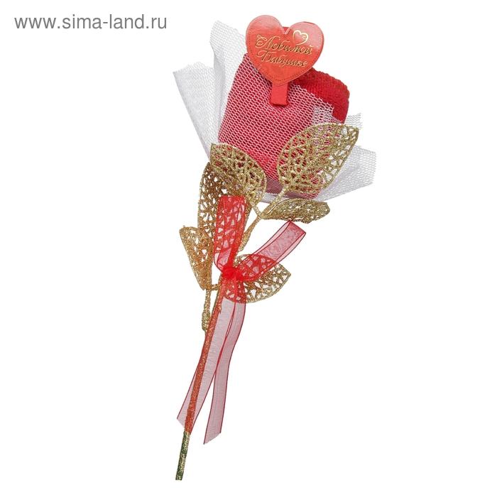 """Полотенце сувенирное роза """"Любимой бабушке"""" 20 х 20см"""