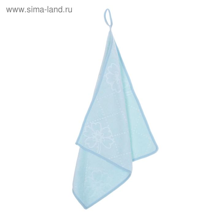 """Салфетка для уборки с петлей 30х30 см """"Светлый день"""", цвет голубой"""