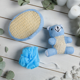 Набор банный 3 предмета: игрушка-мочалка, губка, мочалка, цвет синий Ош