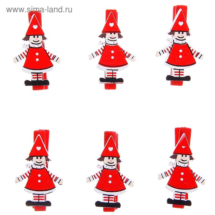 "Прищепки декор новогодние ""Помощники деда Мороза"", набор 6 штук, МИКС"