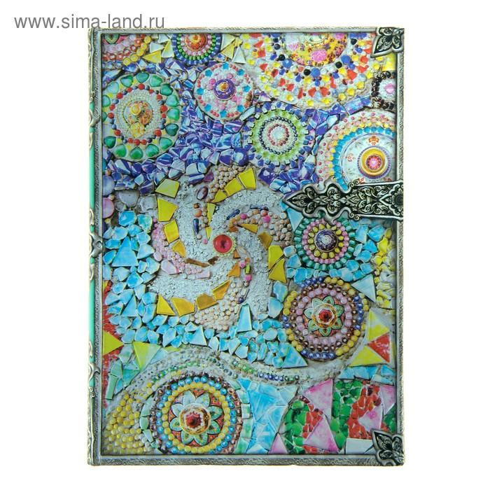 """Ежедневник миди """"Мозаика"""", фольга, серебряный срез, 100 листов"""