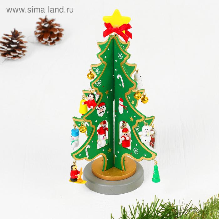 """Сувенир новогодний """"Ель на подставке"""" с золотым контуром"""