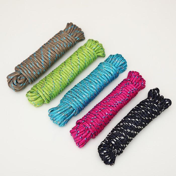 Верёвка бельевая 6 мм, длина 10 м, цвет МИКС