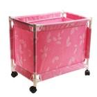 Корзина для белья на колесах, цвет розовый