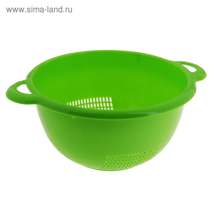 """Дуршлаг с ручками 24х30 см """"Уют"""", зеленый"""