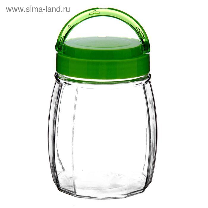 """Банка для сыпучих продуктов 1,06 л """"Бочонок"""", зеленая"""
