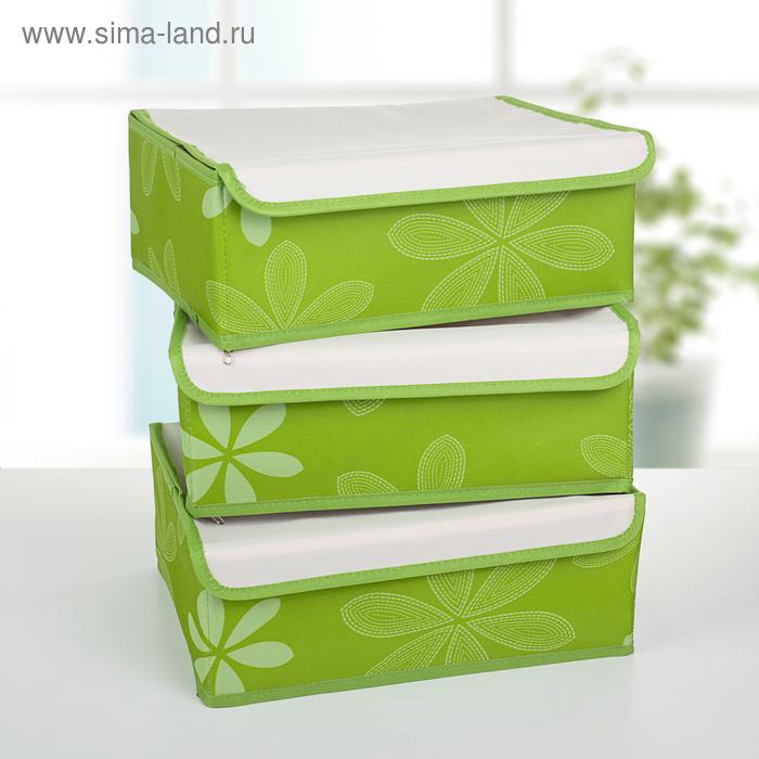 """Набор органайзеров для белья с крышкой 34х24х12 см, """"Листочки"""" 3 шт, цвет зеленый"""