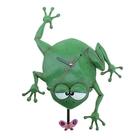 """Часы настенные детские с маятником """"Лягушка"""", зелёные"""