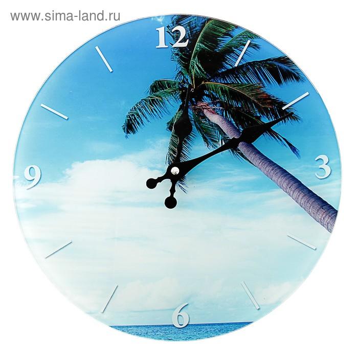 """Часы настенные из стекла """"Райский остров"""""""