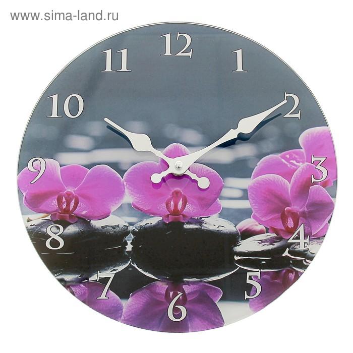 """Часы настенные из стекла """"Орхидеи"""""""