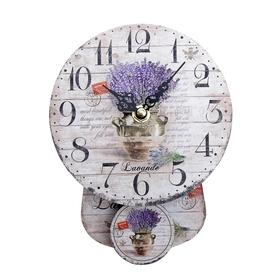 """Часы настенные интерьерные с маятником """"Лаванда в вазе"""""""