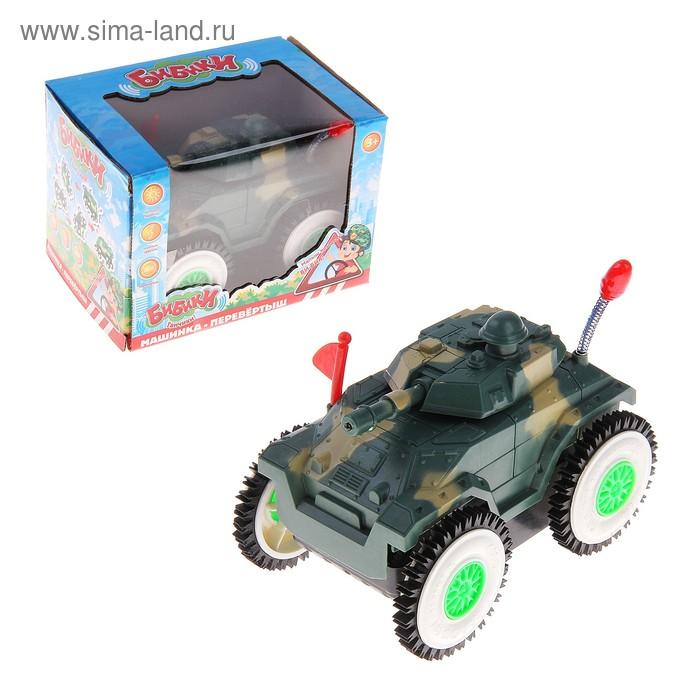 """Машина-перевёртыш """"Танк"""", работает от батареек, световые и звуковые эффекты"""