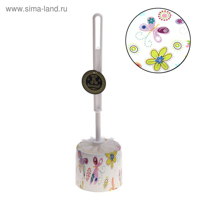 "Ершик для унитаза с подставкой 34х9,5 см ""Бабочки-цветочки"""