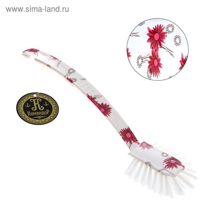 """Щетка для посуды овальная """"Розовые цветы"""" 25 см"""