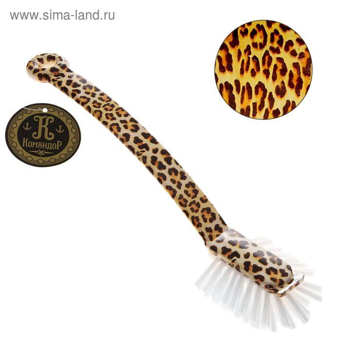 """Щетка для посуды прямоугольная """"Леопард"""" 25 см"""