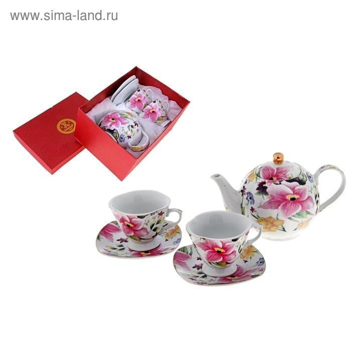 """Сервиз чайный """"Цветочный рай"""", 5 предметов: 2 чашки 220 мл, 2 блюдца, чайник 600 мл"""