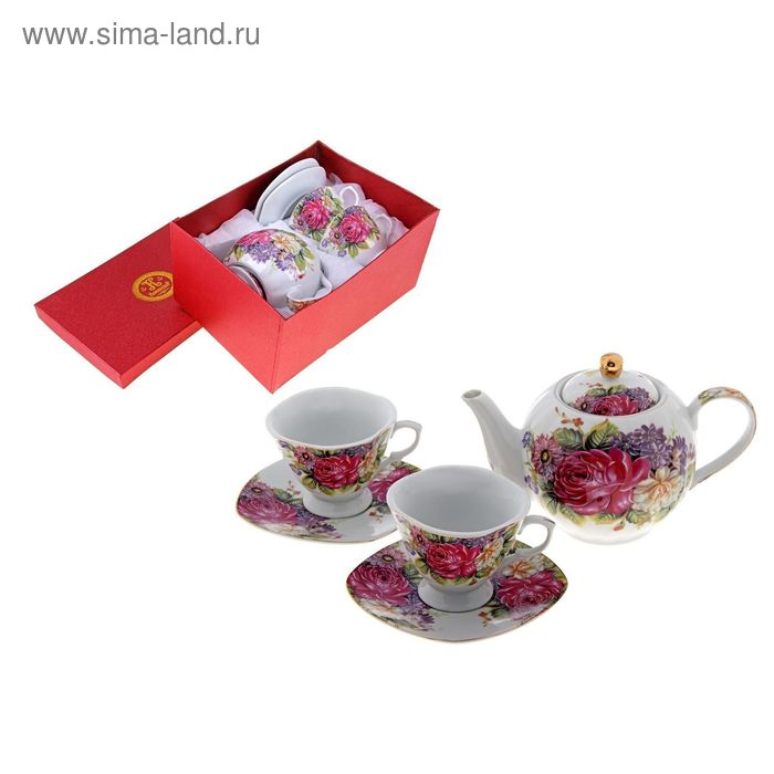 "Сервиз чайный ""Букет из сада"", 5 предметов: 2 чашки 220 мл, 2 блюдца, чайник 600 мл"