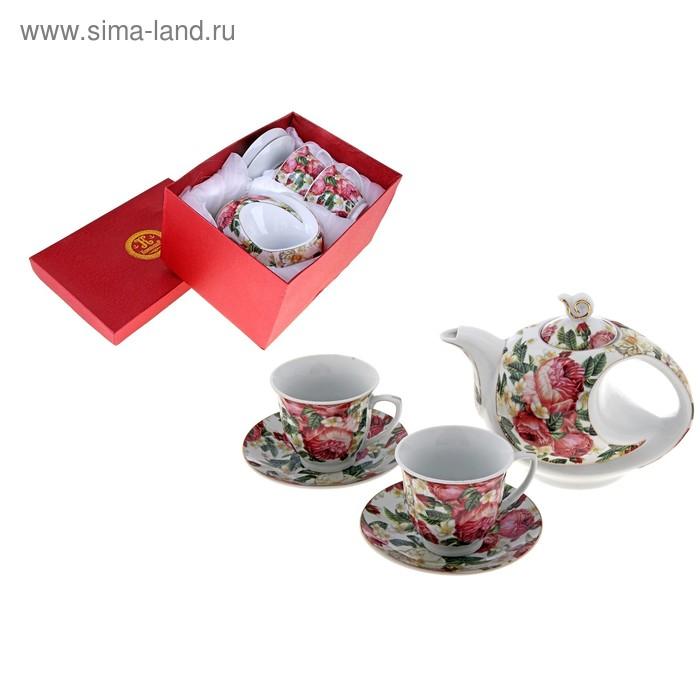 """Сервиз чайный """"Цветочное полотно"""", 5 предметов: 2 чашки 220 мл, 2 блюдца, чайник 600 мл"""