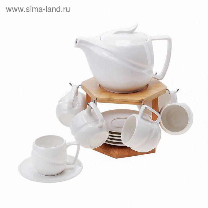 Чайный набор «Эстет. Садко» декорированный деревом, 13 предметов: кружки 135 мл, заварник 600 мл