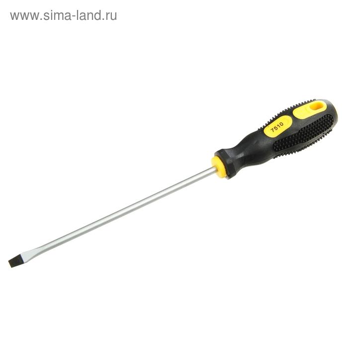 """Отвертка шлицевая, SL 5х150 (-) 6"""", подвес, комбинированная ручка, черная с желтым"""