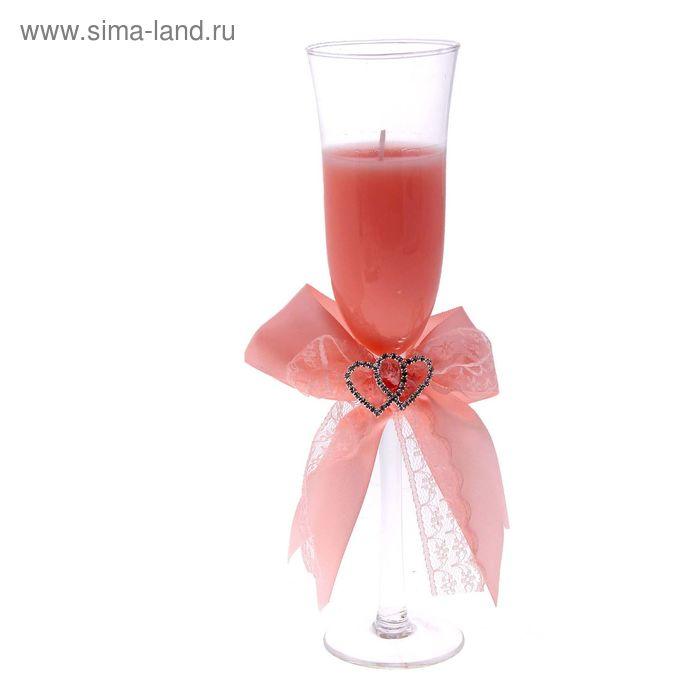 """Свеча гелевая """"Сплетение сердец"""", цвет персиковый"""
