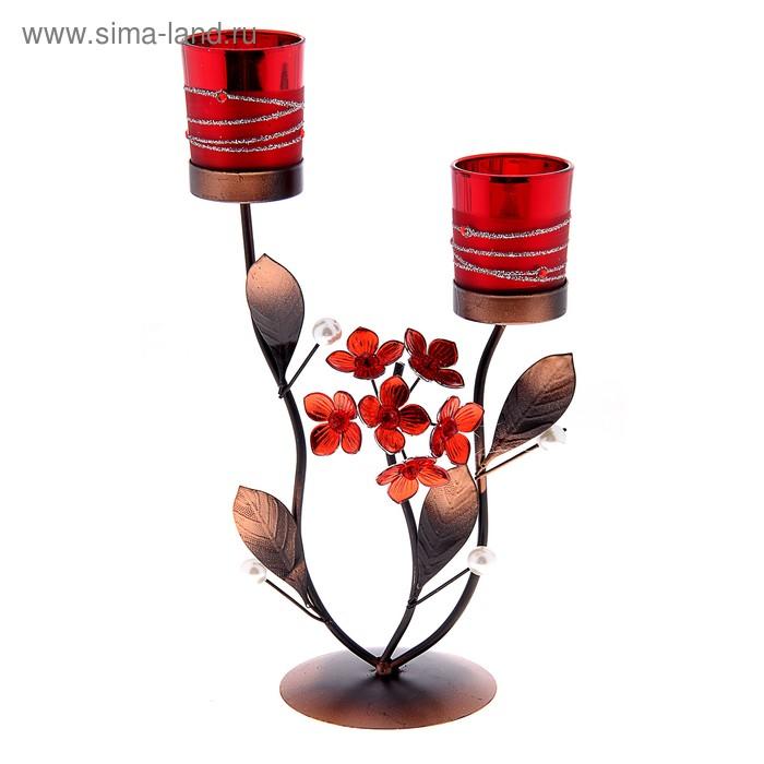 """Подсвечник на 2 свечи """"Северное сияние"""", цвет красный"""