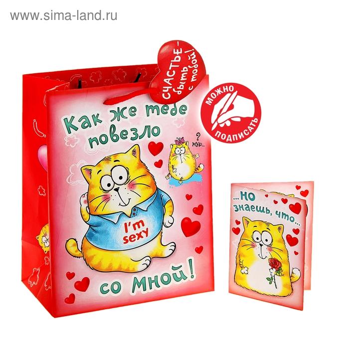 Пакет ламинат вертикальный с открыткой «Йошкина любовь», 32 х 44,5 см