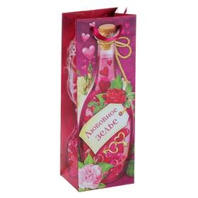 Пакет ламинат под бутылку с тиснением «Любовный напиток», 13 х 36 см Ош