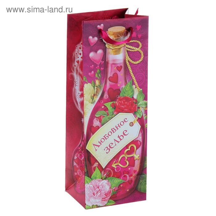 Пакет ламинат под бутылку с тиснением «Любовный напиток», 13 х 36 см