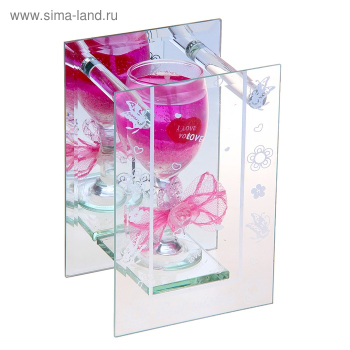 """Свеча гелевая зеркальная """"Бант"""", цвет розовый"""
