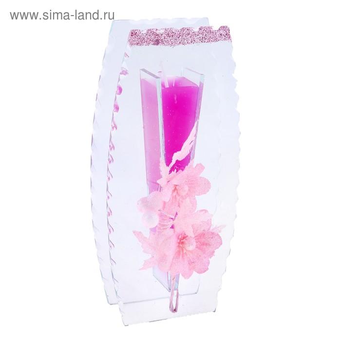 "Свеча гелевая ""Веточка"", цвет розовый"