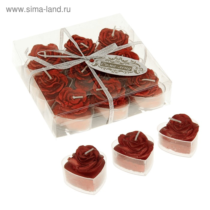 """Свечи восковые плавающие (набор 9 шт) """"Роза"""", цвет красный"""