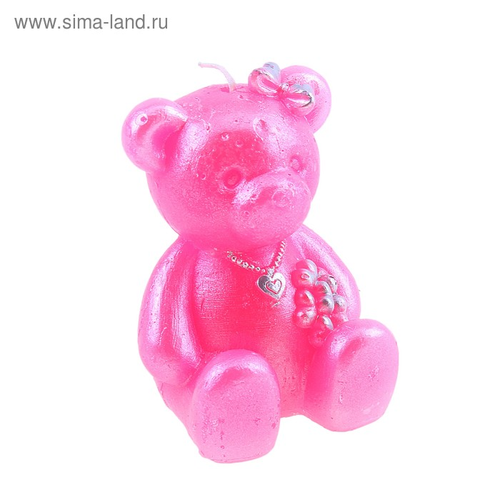 """Свеча восковая """"Мишка"""", цвет розовый"""